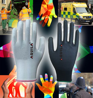 PU coated nylon gloves for front-line workers available from Aquila Gloves