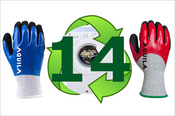 Aquila cut protection gloves can be laundered up to 14 times